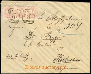 78526 - 1876 Reg letter to Holešov, with 3x 5Fi, illegible framed p
