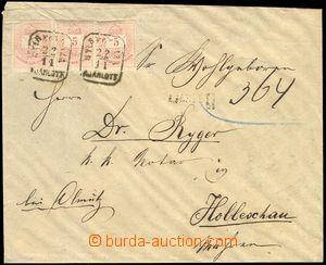 78526 - 1876 R dopis do Holešova, vyfr. zn. 3x 5Fi, nečitelné rá