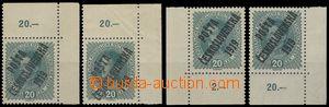 78550 -  Pof.39, Karel 20h, 4x rohový kus s DZ, levá a pravý doln