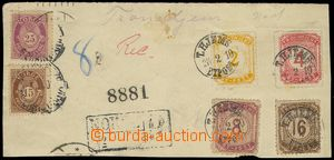 78557 - 1910 cut square Reg letter with mixed franking Norwegian sta