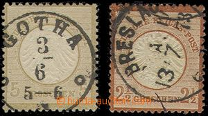 78565 - 1872 Mi.6, 21, comp. 2 pcs of stamps, c.v.. 210€, superb