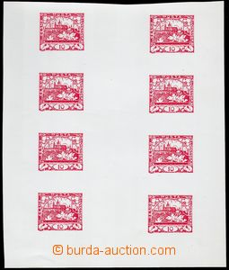 78574 -  trial print 10h red, joined printing 8 pcs of stamps, vosko