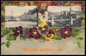 78637 - 1900? LOKET (Elbogen) - kolážová, barevná lito květiny