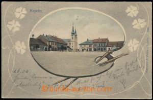 78640 - 1904 KOJETÍN - náměstí, kolorovaná koláž paleta, DA,