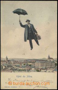 78643 - 1903 JIČÍN, kolorovaná koláž muž s deštníkem nad mě