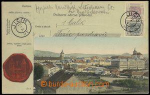 78648 - 1907 JIČÍN, střed města, kolorovaná koláž Poštovní