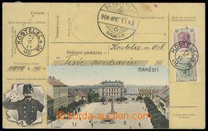 78651 - 1908 KOSTELEC N. O. - square, colored collage Postal order,