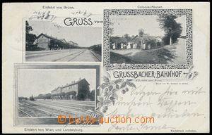 78661 - 1898 HRUŠOVANY (Grussbach) -  B/W collage postcard, 3-views