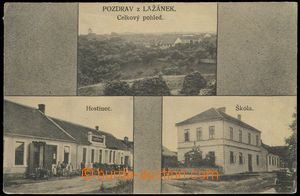 78663 - 1922 LAŽÁNKY -  B/W, 3-views, pub, school, general view, u