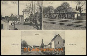 78664 - 1930 ROHATEC,  B/W, 3-views postcard,  factory, railway-stat