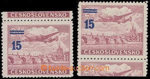 78673 - 1949 Pof.L31a K, overprint provisory 15/24Kčs violet-red, l