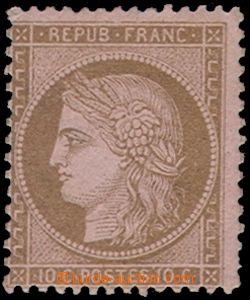 78677 - 1875 Mi.52, Ceres 10C hnědá na růžovém papíru, kat. 42
