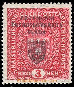 78699 - 1918 Pof.RV17a, Prague overprint I., Coat of arms 3 Koruna,
