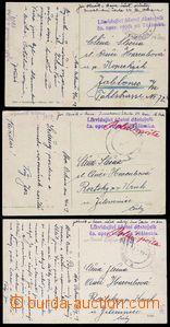 78704 - 1919 3ks pohlednice zaslané od příslušníka ozbrojených