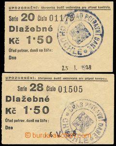78710 - 1938 ČSR I.  2ks stvrzenka Dlažebné za zaplacení potravní da