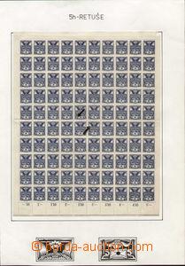 78778 - 1920 Pof.143, kompletní 100-známkový arch, retuš na ZP 4