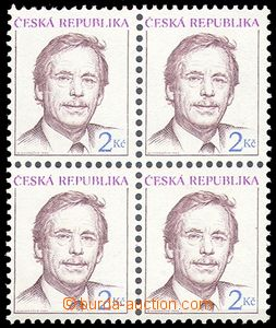 78791 - 1993 Pof.3, Havel, block of four with omitted perforation ho