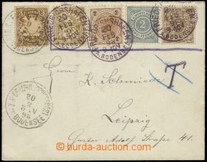 78858 - 1898 AUSTRIA  dopis do Lipska vyfr. 5ks známek 5 různých