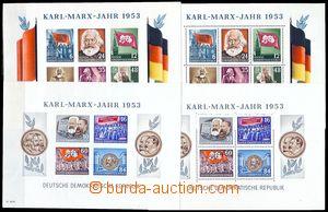 78872 - 1953 Mi.Bl.8A+B, 9A+B, aršíky K. Marx, kompletní sestava,