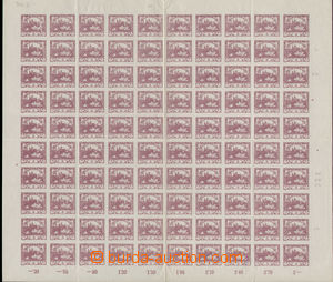 78894 -  Pof.2, 3h violet, complete 100-stamps. sheet, plate variety
