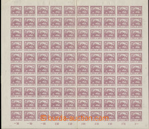 78895 -  Pof.2, 3h violet, complete 100-stamps. sheet, retouch of pl