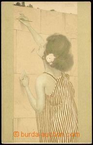 78913 - 1900 KIRCHNER Rafael:  Dívka v pruhovaných šatech malují