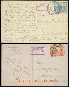 78975 - 1919-20 poštovny JEDOMĚLICE a KADOV, sestava 2ks pohlednic