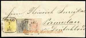 78977 - 1853 obálka dopisu vyfr. zn. Mi.1, 2, 3 - tříbarevná fra