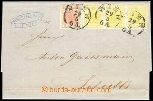 78980 - 1856 dopis vyfr. zn. Mi.1 (3-páska) + Mi. 3, vícenásobná