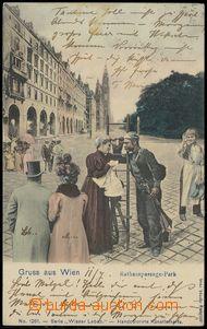 79006 - 1903 WIEN - koláž, kominík a další lidé před radnicí