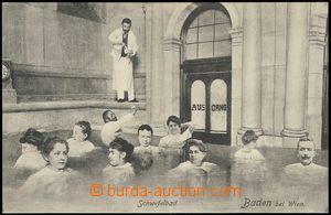 79008 - 1911 BADEN bei WIEN - čb koláž, lidé v lázni; nepoužit