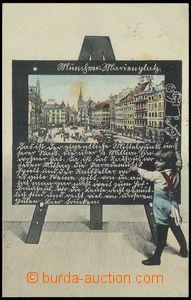 79009 - 1905 MÜNCHEN - koláž dítě před tabulí; prošlá, 2x l