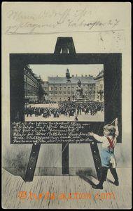 79011 - 1905 WIEN - koláž dítě před tabulí; prošlá, lehce od