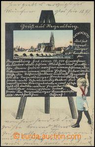 79012 - 1905 REGENSBURG - collage Child in front of blackboard; Us,