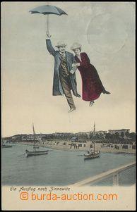 79015 - 1905 ZINNOWITZ - koláž, muž a dáma s deštníkem; DA, pr
