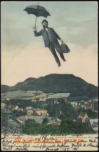 79016 - 1905 SOKOŁOWSKO (Görbersdorf) - collage, man with umbrella