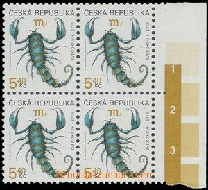 79043 - 1999 Pof.241, Zodiac - Scorpio, block of four with R margin,