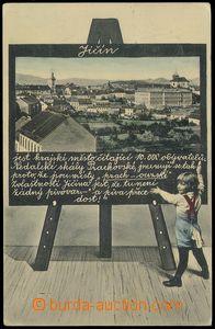 79092 - 1906 JIČÍN - koláž dítě před tabulí; prošlá, lehce