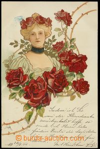 79107 - 1900 Art Nouveau, lithography, girl with roses; long address