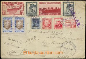 79111 - 1938 SPAIN / INTERNATIONAL BRIGADES  airmail letter with mul
