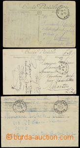79124 - 1918 FRANCE  sestava 3ks celistvostí, 1x dopis a 2x pohledn