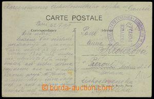 79125 - 1919 FRANCIE  pohlednice do ČSR, 2-kruhové razítko Čs. n