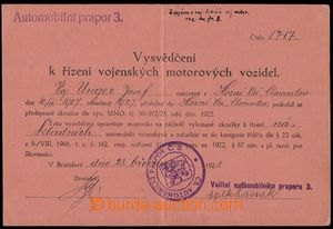 79161 - 1928 MILITARIA  certificate to control military motorových