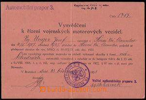 79161 - 1928 MILITARIA  vysvědčení k řízení vojenských motorových vo