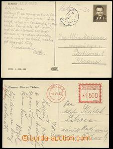 79180 - 1953 postcard franked by meter stmp. OLOMOUC 2/ 4.VI.53 rate