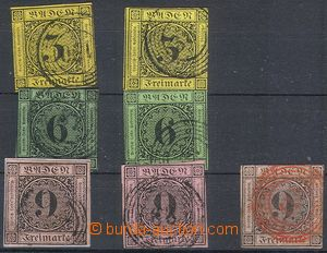 79212 - 1851 comp. 7 pcs of stamps, all circular numeric postmark, s