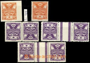 79222 -  Pof.144, 148,1x imperforated 20h T I., 20h perforated T I.,