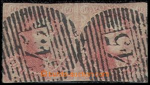 79248 - 1849 Mi.5A, 40c Leopold I., horizontal pair with numeral pmk