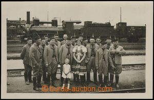 79302 - 1920 real photo, group Sokols at railway-station, in backgro