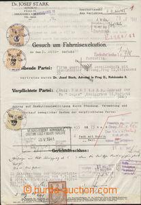 79366 - 1941 ČaM  exekuční výměr, sestava 3ks kolkovaných listin, za